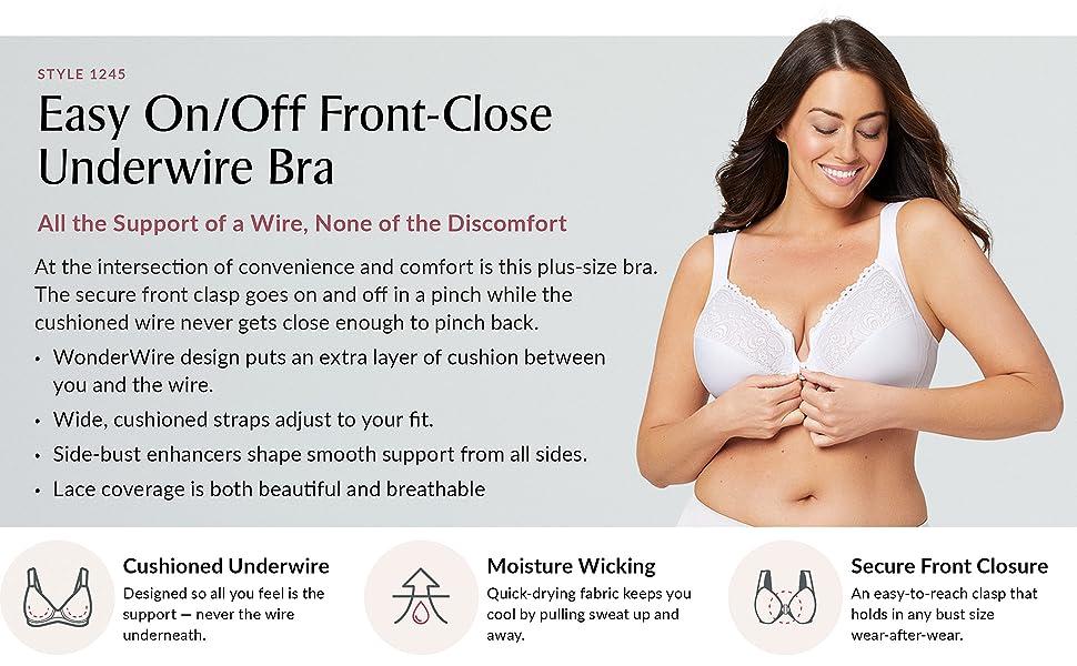 Easy On/Off Front-Close Underwire Bra wonderwire support