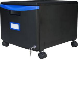 Storex Plastic 1-Drawer Mobile File Cabinet, Black/Blue