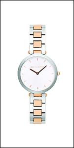 Rebecca Minkoff, watch,minkoff,white dial, two tone,rose gold, silver, bracelet,