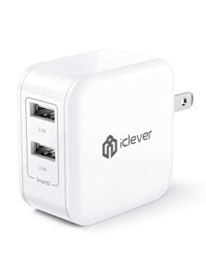 iClever USB Wall Charger, BoostCube 24W Dual Port Charger with SmartID Technology and Foldable Plug, for iPhone Xs/XS Max/XR/X/8 Plus/8/7 Plus/7/6S/6 ...