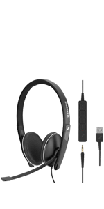 Sennheiser SC165 USB Wired Headset UC optimized Skype for Business double-sided in-line call control