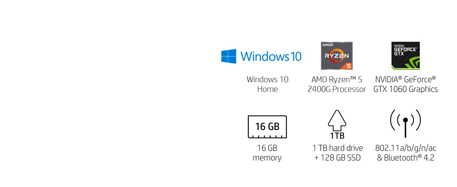 HP Pavilion Gaming Desktop Computer, AMD Ryzen 5 2400G, NVIDIA GeForce GTX  1060, 16GB RAM, 1TB hard drive, 128GB SSD, Windows 10 (690-0048, Black)