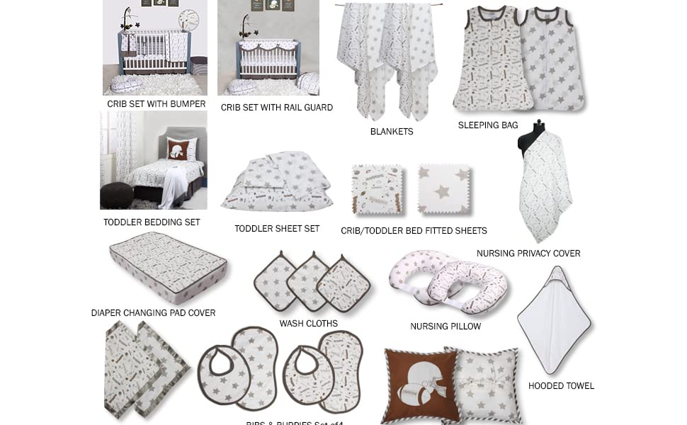 Football Brown/Grey Muslin Toddler Bedding Collection