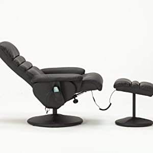 Awesome Mcombo Electric Faux Leather Recliner Chair And Ottoman Swivel Gaming Massage Chair With Wrapped Base Remote Control Swivel Seat 7902 Black Pabps2019 Chair Design Images Pabps2019Com