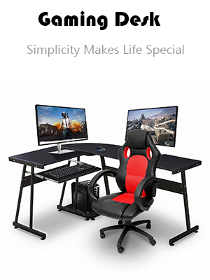 Ivinta Reversible Black Gaming Desk Corner Desk Modern L Shaped Desk Computer Desk For Home Office Small Space With Keyboard Tray And Cpu Stand 44x58 Inch Kitchen Dining