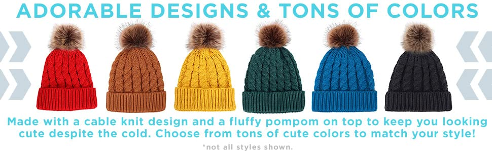 687bb5246d9 Women s Winter Soft Knitted Beanie Hat with Faux Fur Pom Pom