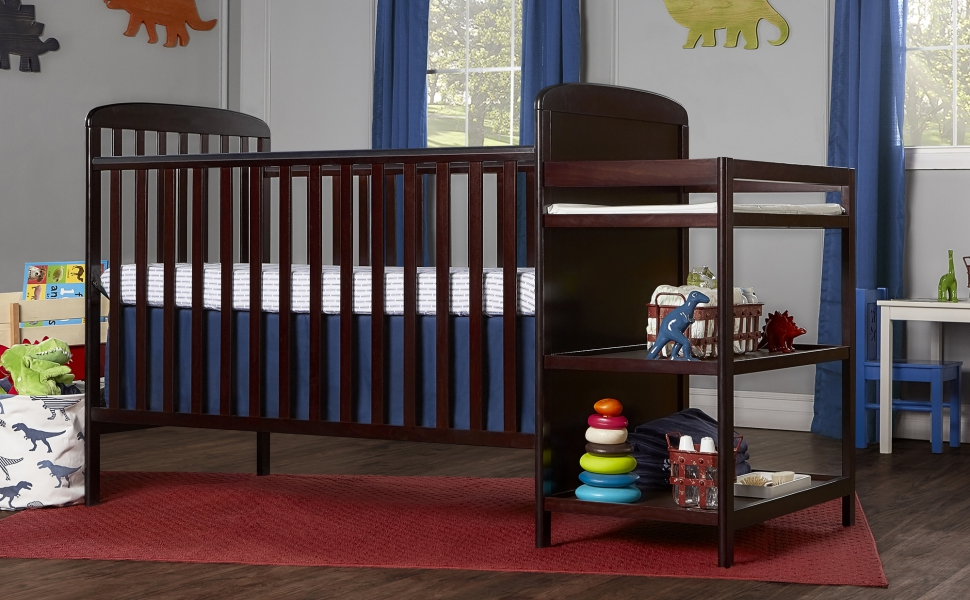 dream on me, cribs, full size, standard, 4 in 1 convertible, toddler bed, day bed, anna, changer