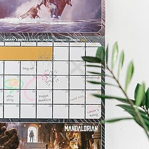 30x30 cm Calendario 2021 da Muro The Mandalorian include poster regalo calendario star wars 12 mesi