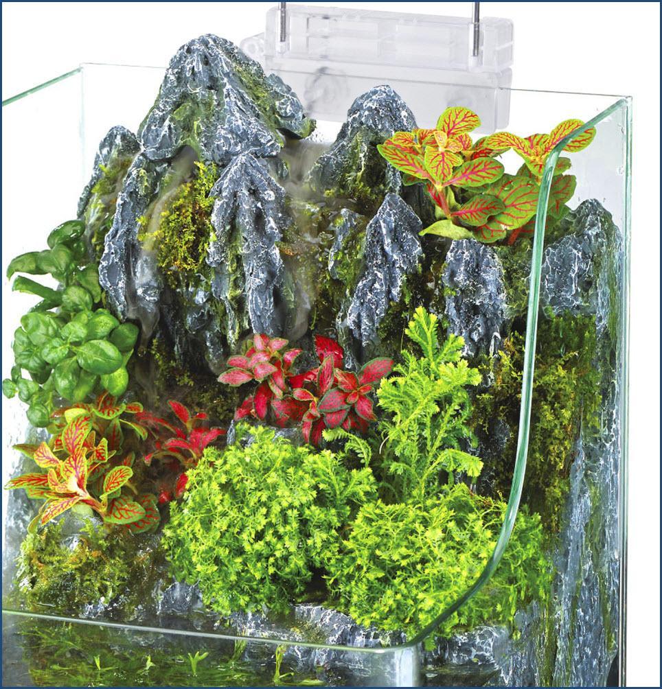 Amazon.com : Penn Plax Aqua Terrarium Planting Tank With Aquarium for Fish, Waterfall, LED Light