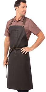 Chef Works Unisex Boulder Chefs Bib Apron, Brown/Black