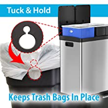 stainless steel rubbish bin trash can garbage waste basket recycle recycling step pedal kitchen
