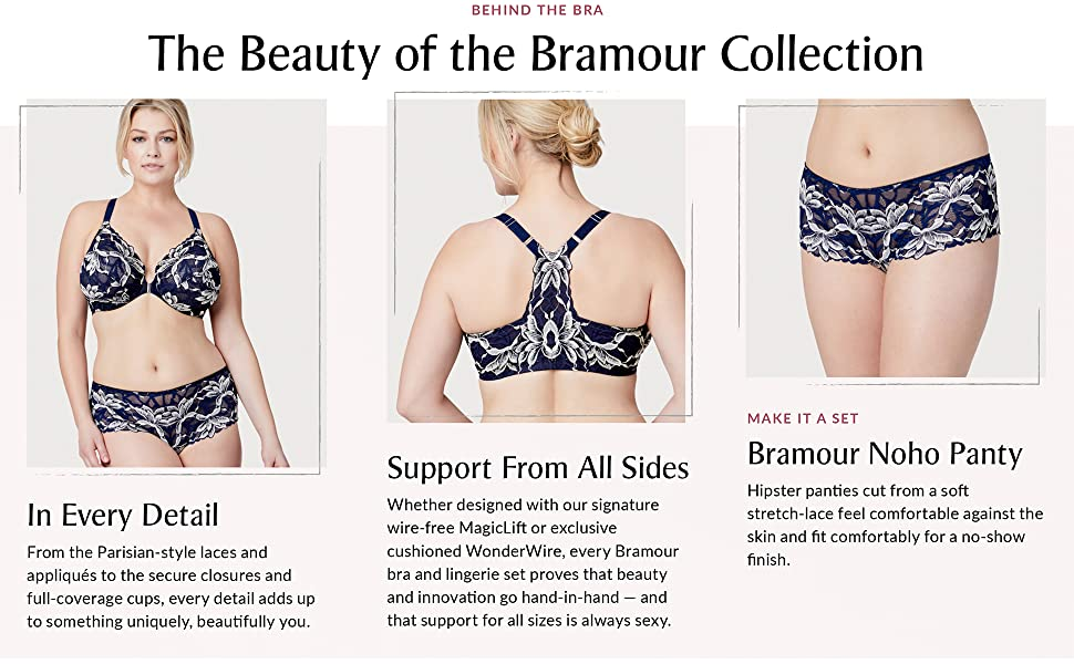 noho bramour luxury lingerie panty set wonderwire sexy lace t-back front close plus size full figure