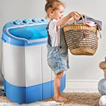 Upgraded Version Pyle Portable Washer & Spin Dryer, Mini Washing Machine, Twin Tubs, Spin Cycle