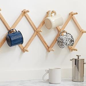 mug rack; coffee cup rack; paintable wall rack; kitchen storage kitchen wall rack; adjustable rack