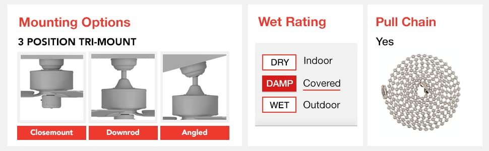 tri-mount, closemount, downrod, angled, wet rating, damp, covered, outdoor, pull chain, yes