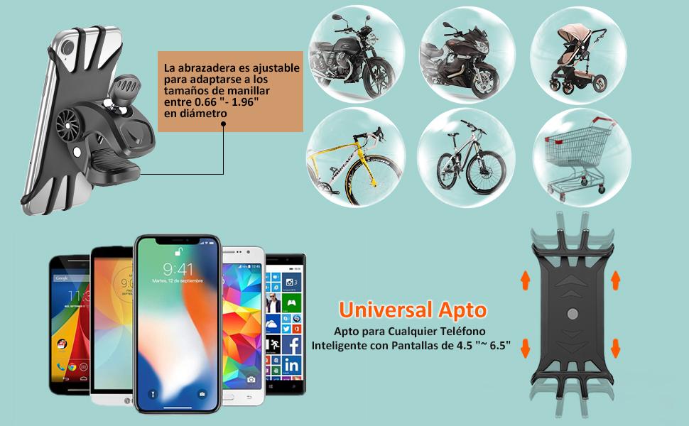 Soporte Movil Bicicleta 360/°Rotaci/ón Ajustable Pl/ástico con una luz de bocina Soporte Telefono Moto para 4-6 3 Inch Smartphone Bicicleta Motocicleta Cochecito de Beb/é