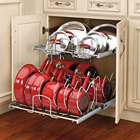 kitchen cabinet pots and pans organizer rev a shelf 5cw2 2122 cr 21 in pull out 9127