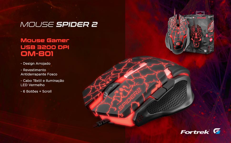 Mouse gamer spider 2 USB 3200 DPI OM-801 antiderrapante fosco cabo têxtil LED vermelho 6 botões