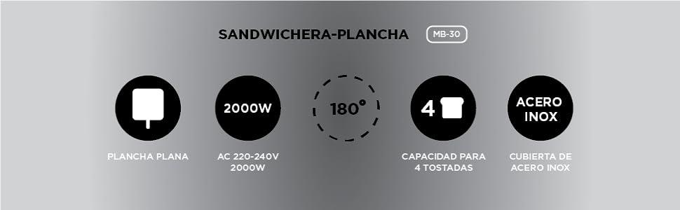 Dalkyo SOGO MB-30 Panini Grill, Parrilla Eléctrica de 2000W ...