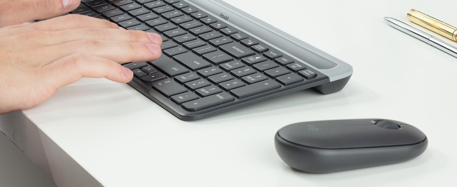 Logitech MK470 Combo Teclado y Ratón Inalámbrico para Windows, 2.4 GHz con Receptor USB Unifying, Diseño Compacto, Batería de Adecuada Duración, ...