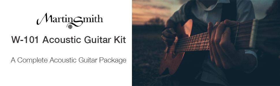 Martin Smith kit de guitarra acústica con la correa de la guitarra ...