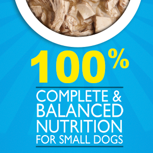 Wet food with one hundred percent complete and balanced nutrition for small dogs