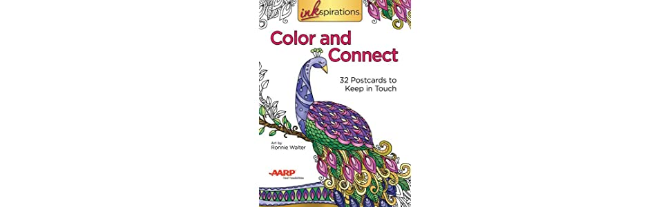 amazon com inkspirations color and connect 32 postcards to keep in