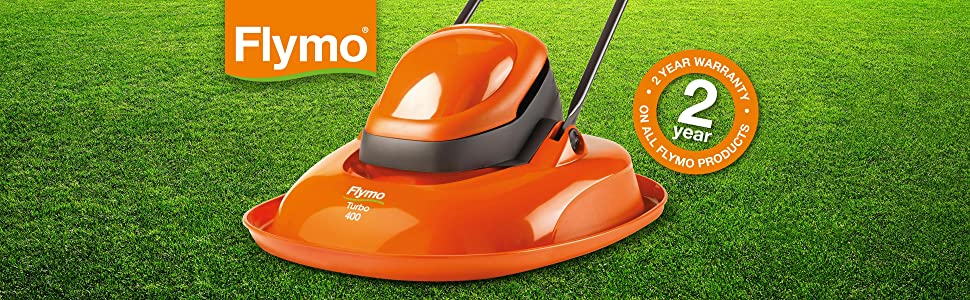 Flymo Turbo 400 Electric Hover Lawnmower Non-Collect, 1500W, Cutting Width 40cm