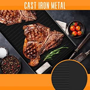 Cast Iron Reversible Grill Plate;18 Inch Flat Cast ;Iron Skillet Griddle Pan For Stove Top;GasRange;
