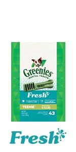 For minty-fresh breath, treat your dog to GREENIES Freshmint Dental Chews.