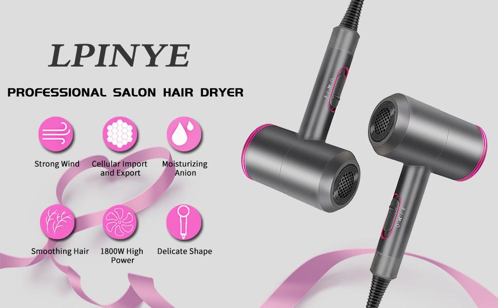 Negative Ion Hair Dryer No Damage//Mute//High Power color : White Professional Hair Salon Hair Dryer 1800W