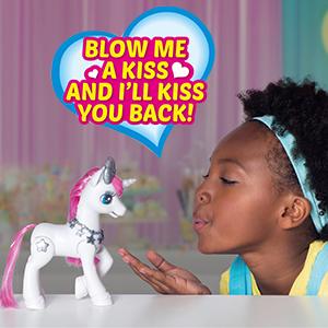 white unicorn, blow kiss, eletronic toy, amazon toy list