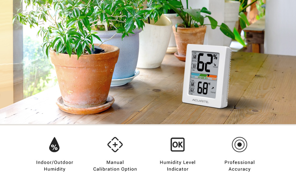 AcuRite Accurate Indoor Humidity Gauge Hygrometer Thermometer on a table
