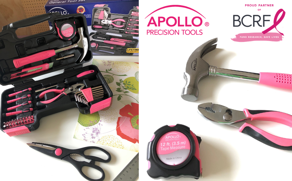 Apollo Tools pink tool sets, pink tool kits, pink toolset, pink toolkit