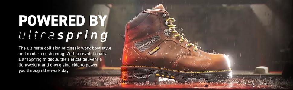 Wolverine, Hellcat, UltraSpring, Durable, Waterproof, Leather, Work Boot, Light, Rebound, Energy