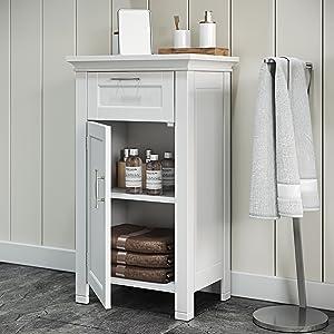 white single door floor cabinet