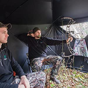 shoot a game comfortably even while sitting on a chair - Barronett Blinds BC350BB Big Cat Pop Up Portable Hunting Blind, Bloodtrail Blades Camo