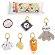 Fisher-Price - Gimnasio Sensorial Llama, Manta de Juego para Bebés Recién Nacidos (Mattel GKD45)