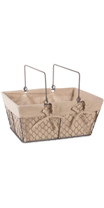 farmhouse egg basket wire basket with liner distressed storage solution