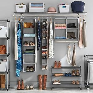 whitmor storage organization shoe rack garment hanger hook container basket tote laundry