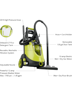 Sun Joe SPX7000E 1750-Max PSI 1 6-GPM 2-in-1 Electric Pressure Washer  w/Built In Wet/Dry Vacuum System