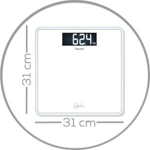 Met groot opstapvlak van veiligheidsglas (31 x 31 cm).
