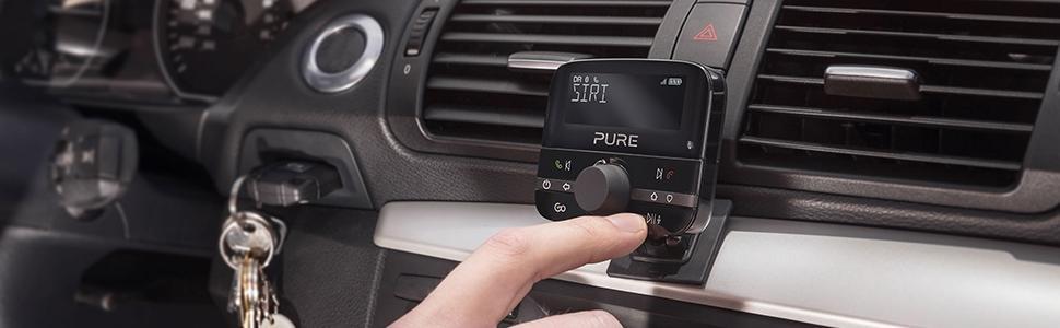 Schwarz Pure Highway 400 In-Car-Audioadapter DAB//DAB+ Digitalradio mit Bluetooth, Go Button, Siri und Google Assitant, Spotify und 20 Senderspeicherpl/ätze