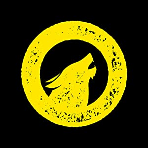 Yellow Survivors logo on black background. Logo shows a dog, howling up into the night sky.