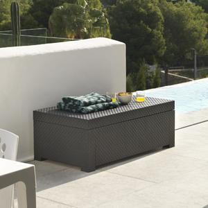 Baúl de plástico para terraza, arcón de plástico para jardín, guarda cojines de terraza
