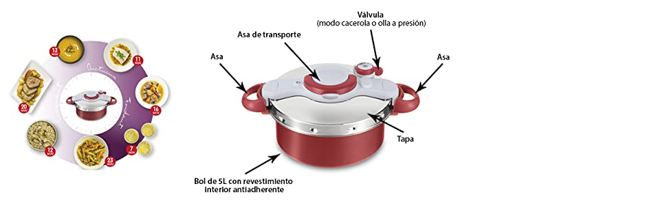 Tefal Clipso Minut Duo Olla a presión de 5 L de aluminio con 5 ...