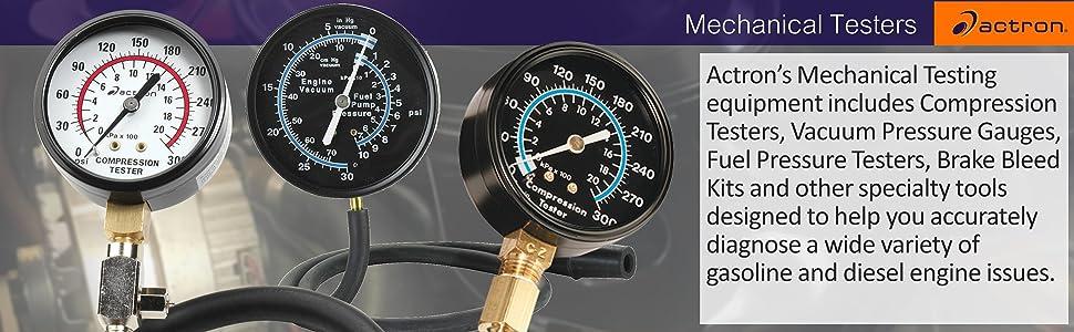 Actron Mechanical Tester Compression Fuel Pressure Vacuum Brake Bleed Kit Diagnostic