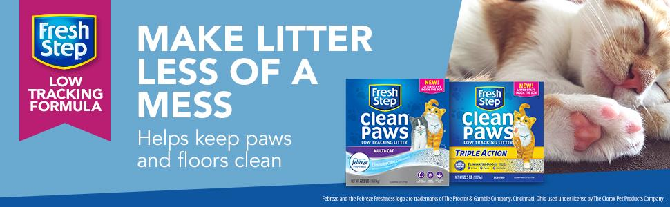 Fresh Step Clean Paws Clumping Cat Litter, 18 Pound