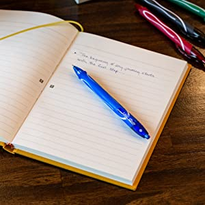 BIC Gel Ink Gel Pen in Blue Red and Black used for journals and office work with no smudge
