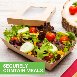 Crafted from heavyweight paper, these paper box lunch containers hold multiple treats.